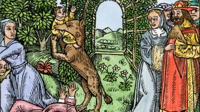 Queen Despaigne causes her stepson to be carried off by a werewolf in medieval France. Hand-colored woodcut of a medieval illustration (North Wind Picture Archives