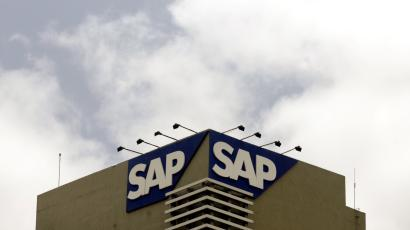 The SAP logo is seen on a building at the SAP India labs campus in Bangalore.