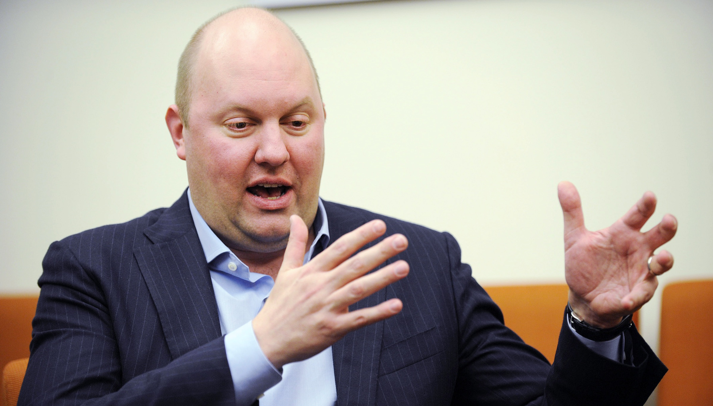 Marc Andreessen, co-founder of Netscape and venture capitalist, speaks during an interview in New York, December 13, 2012. REUTERS/Keith Bedford (UNITED STATES - Tags: BUSINESS) - RTR3BJQD