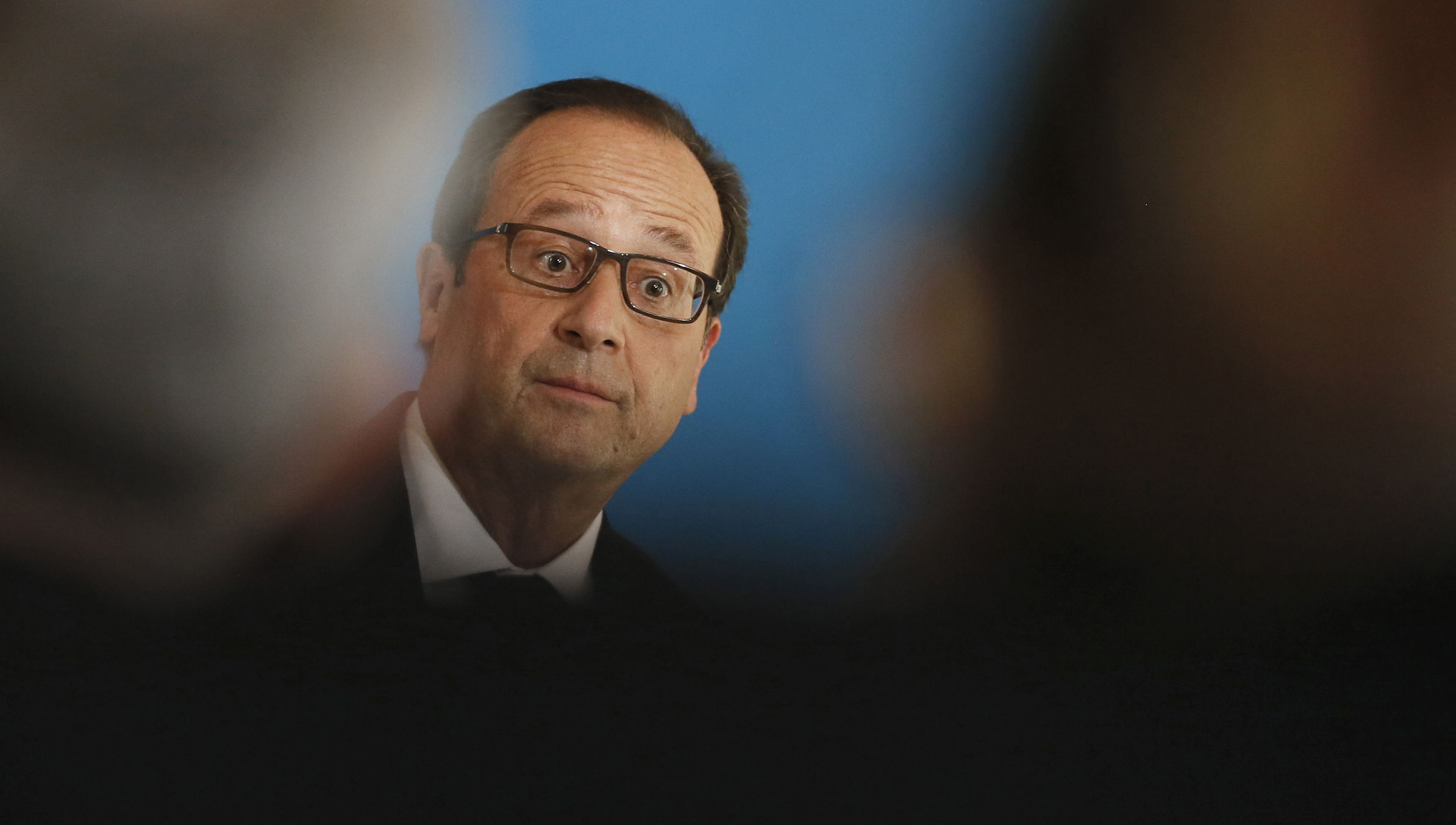 "French President Francois Hollande is seen during the conference ""apprentiship mobilization day"" at the Hotel Marigny in Paris September 19, 2014.    REUTERS/Gonzalo Fuentes  (FRANCE  - Tags: POLITICS) - RTR46YA8"