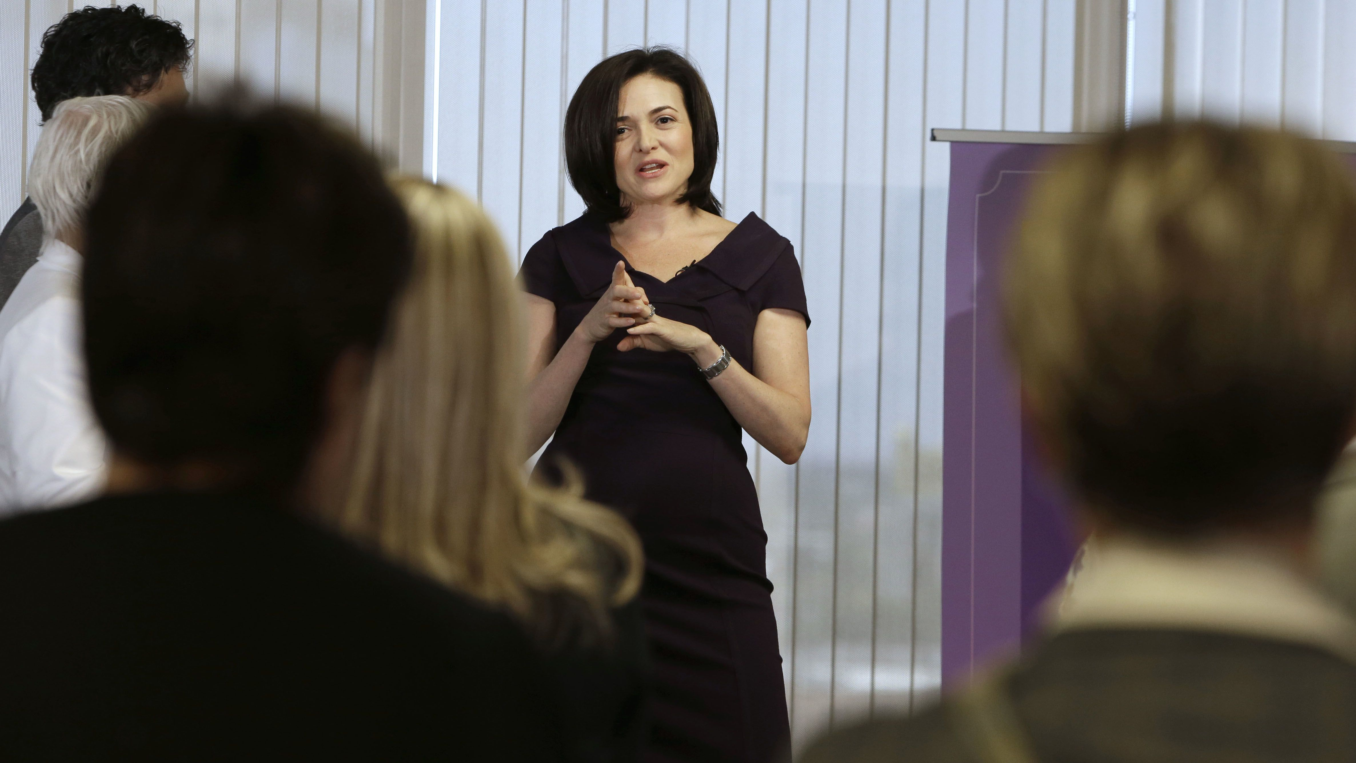 Sheryl Sandberg, chief operating officer of Facebook, discusses the challenges facing women in the workplace at a luncheon appearance before the California Women's Legislative Caucus in Sacramento, Calif., Wednesday, Aug. 21, 2013.  Sandberg said after years in corporate America, she wanted to launch a conversation about women's inequality.(AP Photo/Rich Pedroncelli)