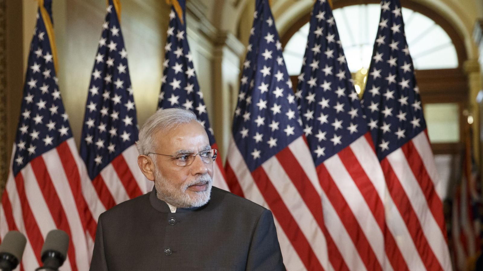 Indian Prime Minister Narendra Modi waits for the arrival of leaders of the House to make a statement, Tuesday, Sept. 30, 2014, on Capitol Hill in Washington. Earlier, the prime minister met with President Barack Obama at the White House and toured the Martin Luther King Jr. memorial with President Barack Obama.