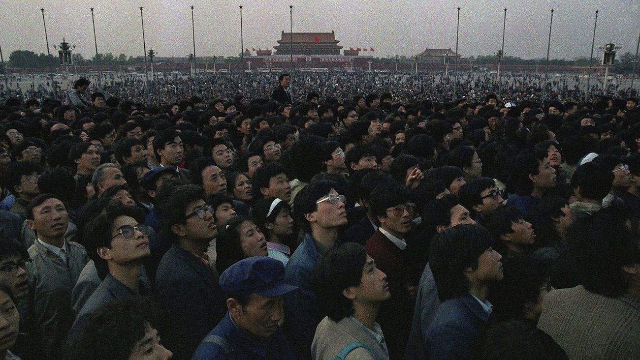 Tens of thousands of students and citizens crowd Beijing's Tiananmen Square on April 21, 1989.