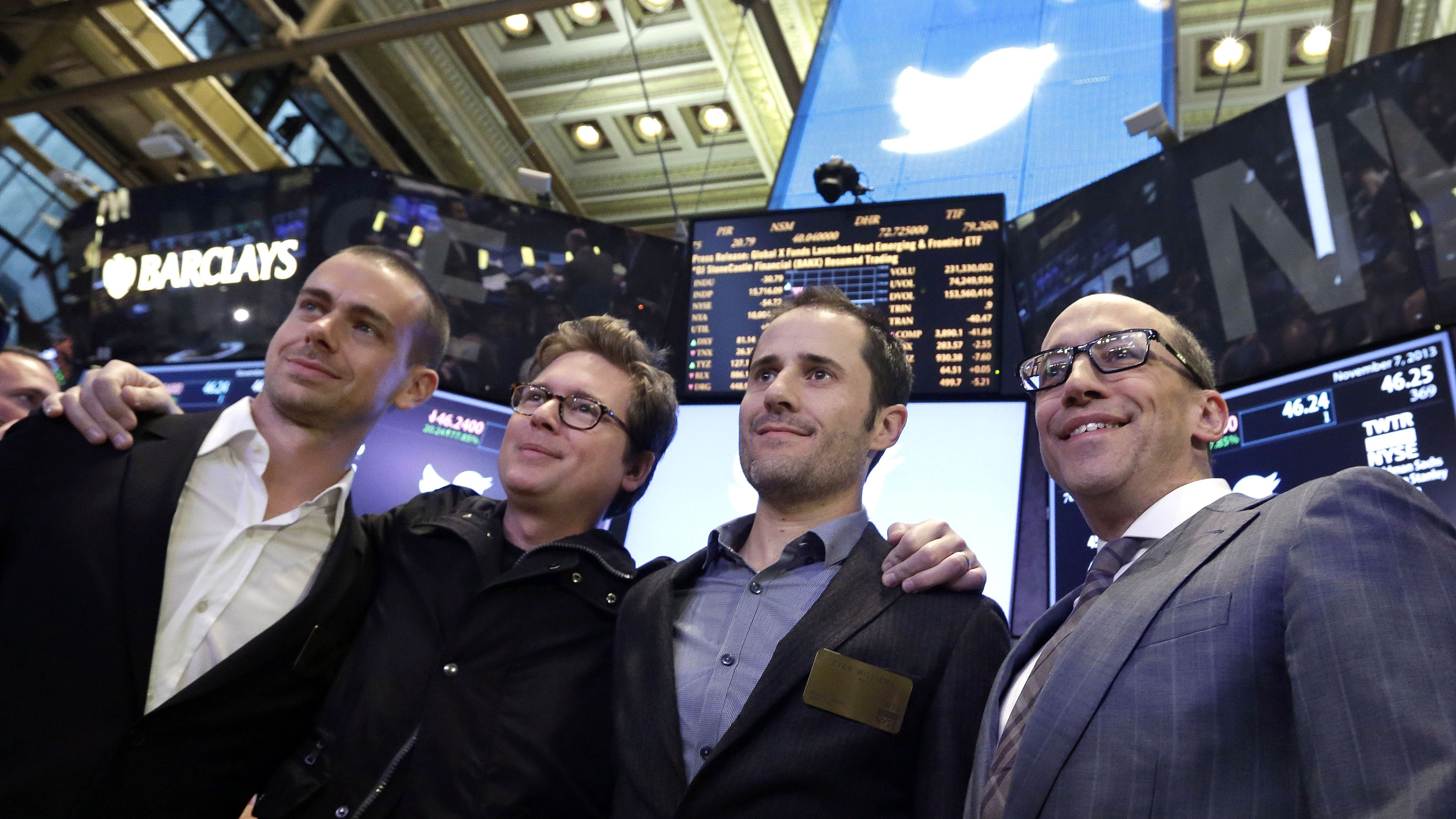 Twitter Chairman and co-founder Jack Dorsey, co-founders Biz Stone and Evan Williams and, Twitter CEO Dick Costolo pose for a group photo after their company's IPO began trading, on the floor of the New York Stock Exchange, Thursday, Nov. 7, 2013. If Twitter's bankers and executives were hoping for a surge on the day of the stock's public debut, they got it. The stock opened at $45.10 a share on its first day of trading, 73 percent above its initial offering price. (AP Photo/Richard Drew)