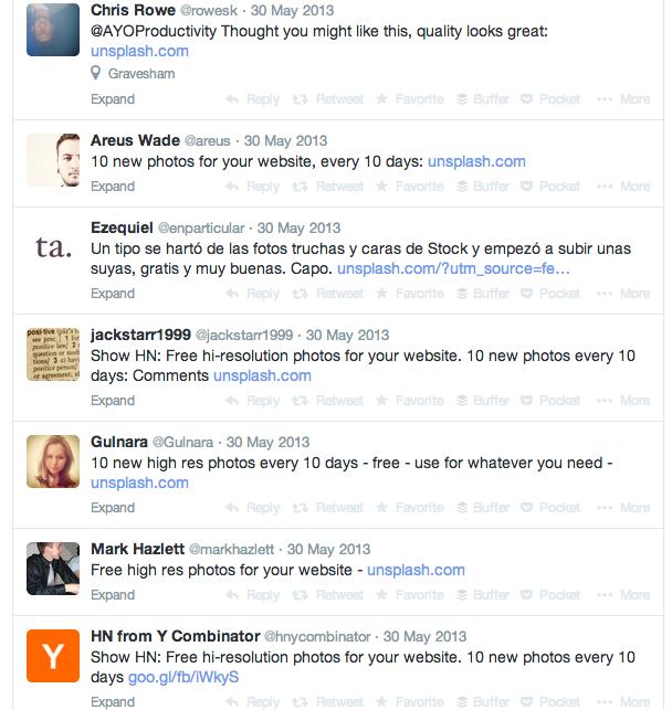 Unsplash tweets