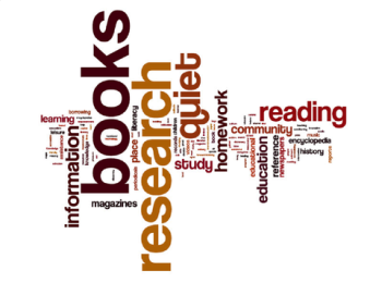 Word cloud showing words describing library of their youth