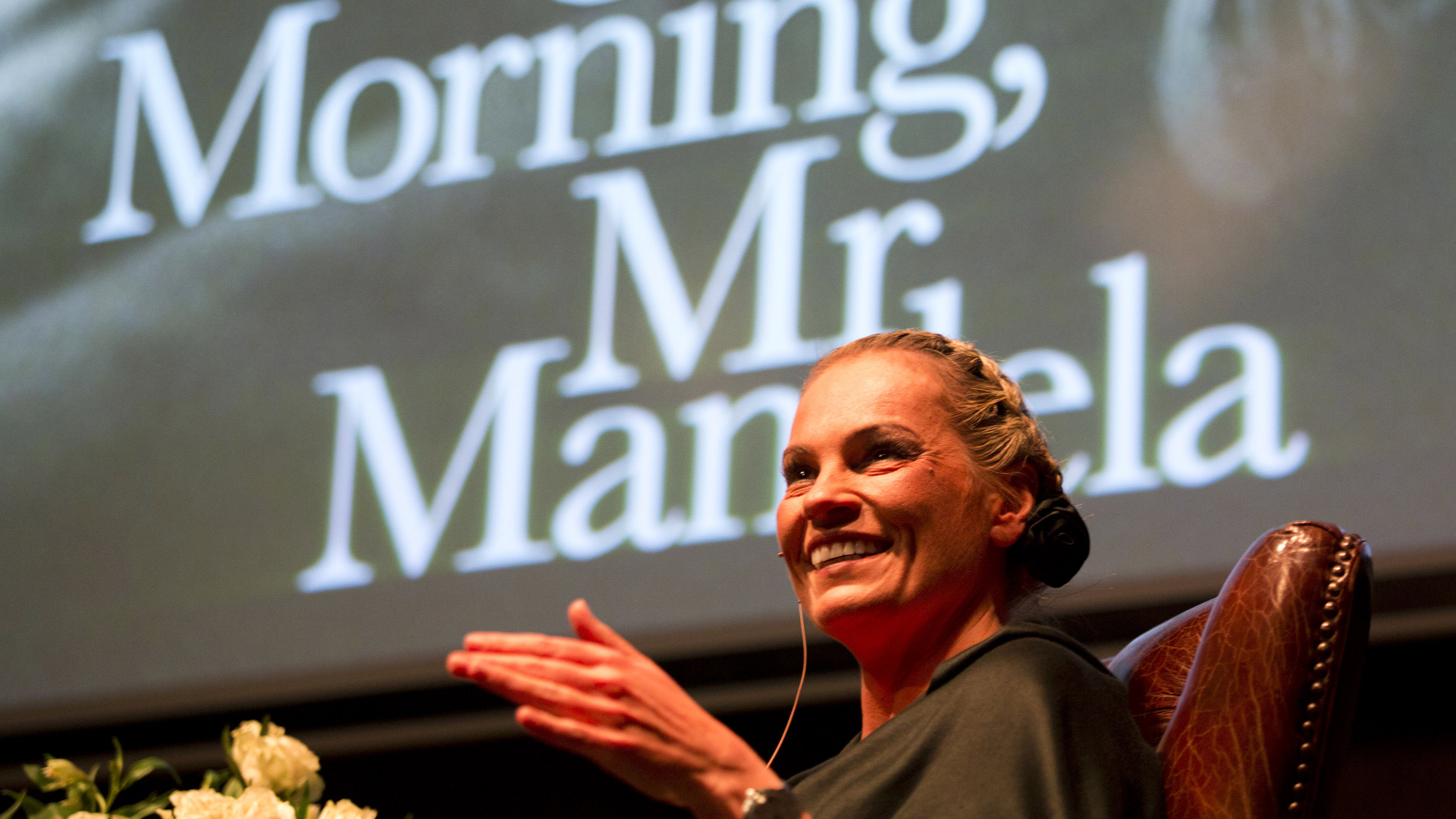 """Nelson Mandela's former private assistant Zelda la Grange speaks at the launch of her book """"Good Morning, Mr Mandela"""" in Johannesburg, June 19, 2014. La Grange's memoirs, published on Thursday, traces the 43-year-old's upbringing in an Afrikaans family that considered Mandela a terrorist. It goes on to describe her improbable appointment to his office when he became president in 1994, and her close relationship with him until his death last year."""