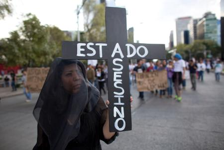 "A protestors carries a sign reading ""Assassin state."""