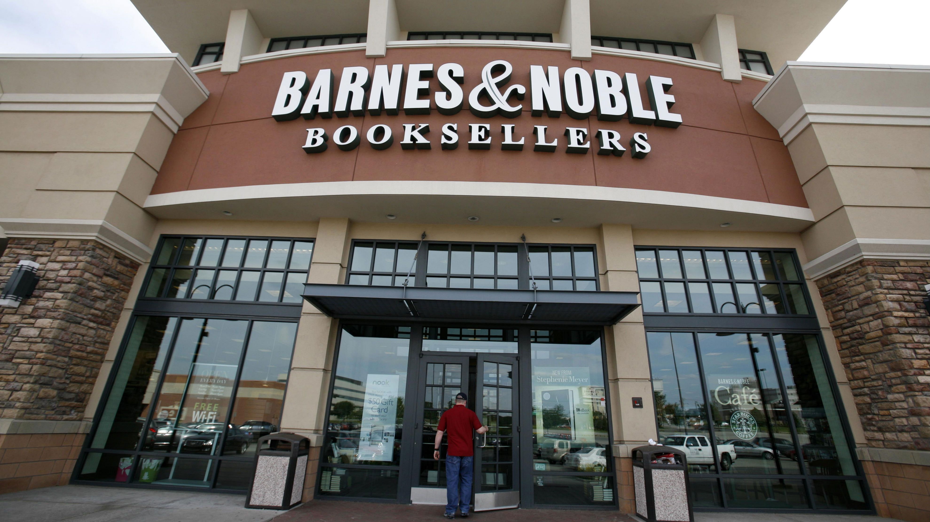 In this June 8, 2010 file photo, a customer enters a Barnes & Noble in Bethel Park, Pa.