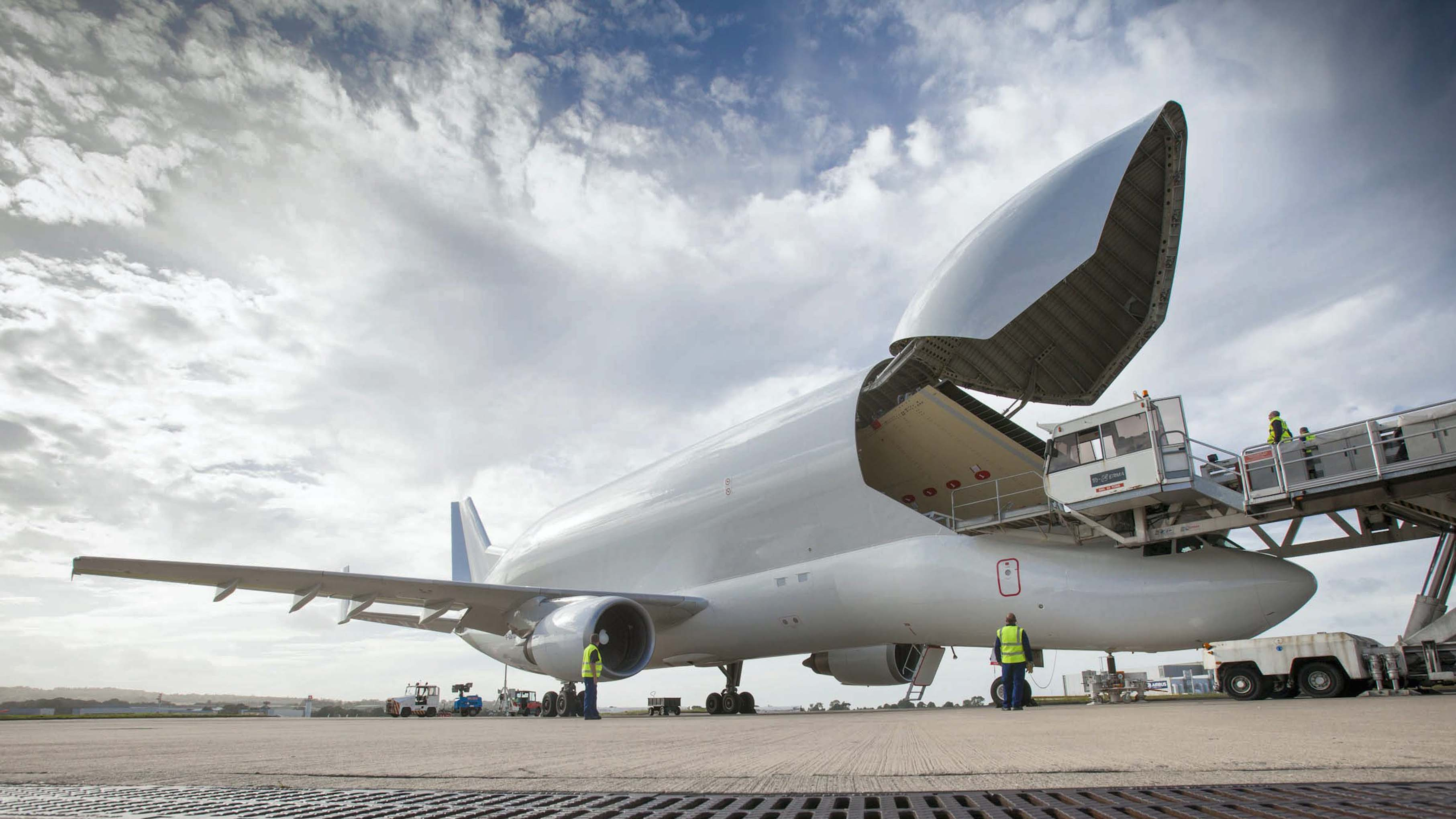A350 first wing despatch at Broughton. Pictured: wing being transported into Beluga