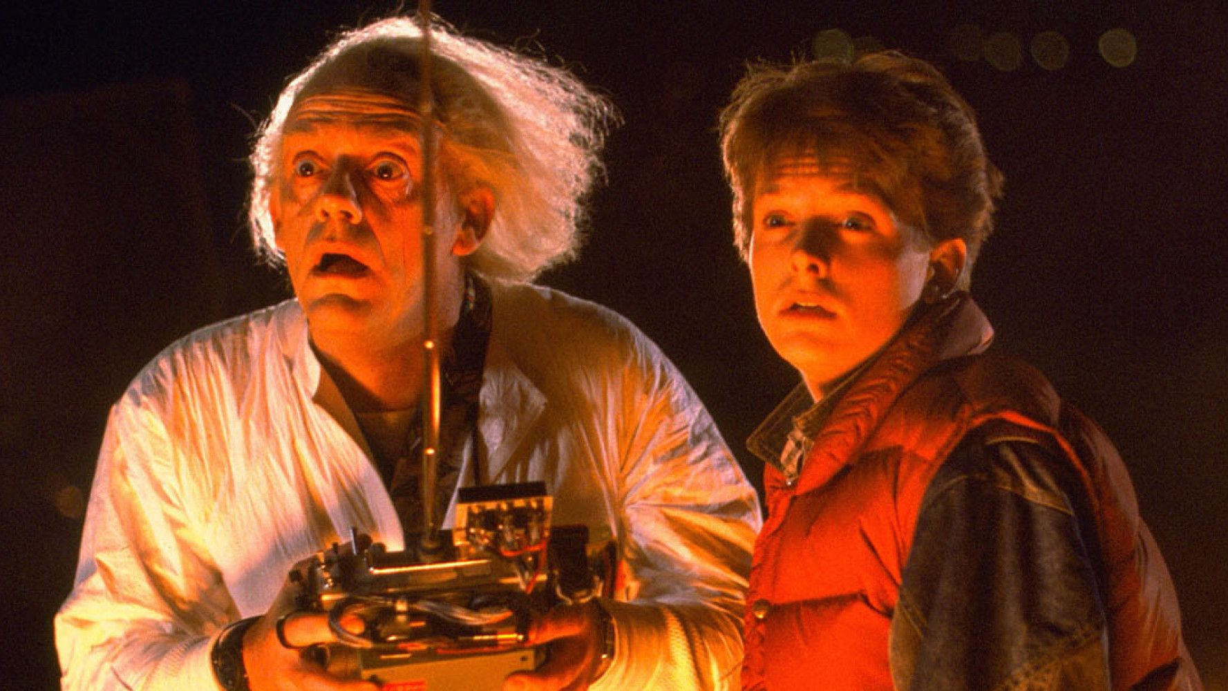 Back to the Future (1985) Directed by Robert Zemeckis Shown from left: Christopher Lloyd (as Dr. Emmett Brown), Michael J. Fox (as Marty McFly)