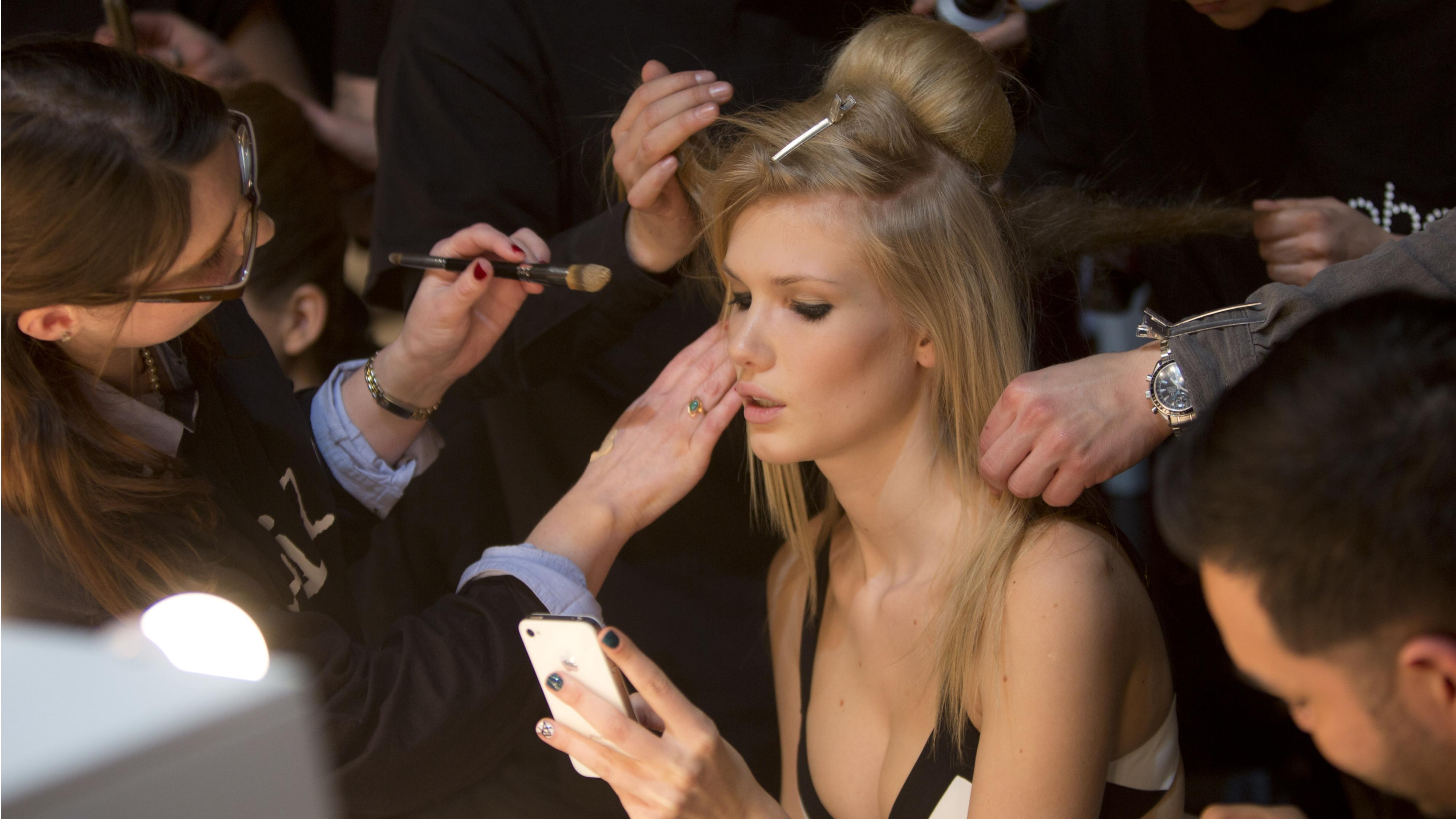 fashion model on iphone