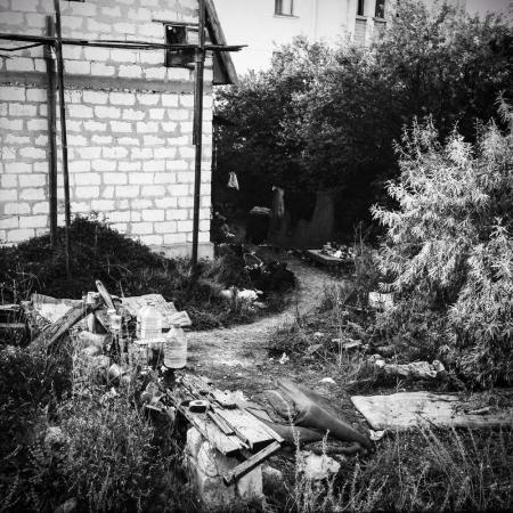Drug paraphernalia in a garden in Crimea