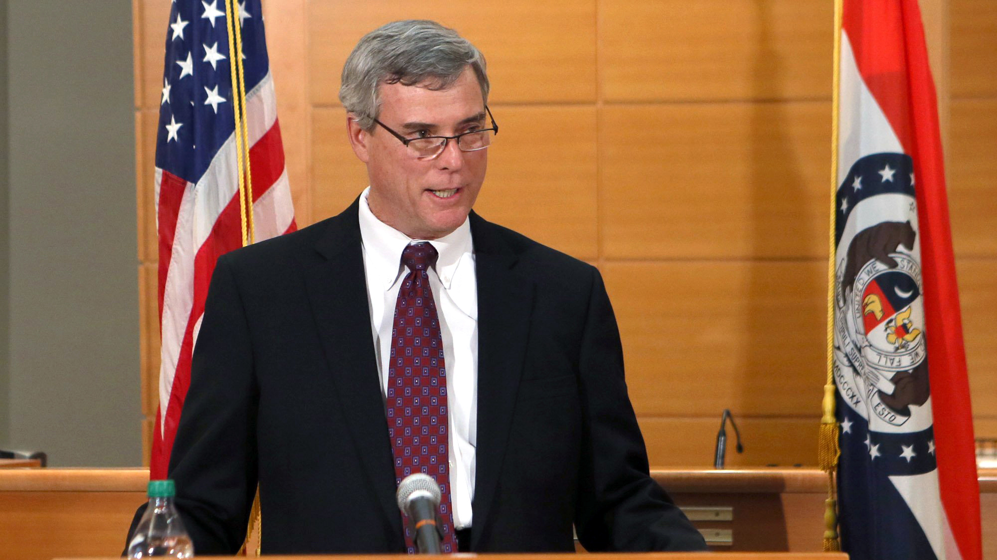 St. Louis County Prosecutor Robert McCulloch announces the grand jury's decision not to indict Ferguson police officer Darren Wilson in the Aug. 9 shooting of Michael Brown, an unarmed black 18-year old, on Monday, Nov. 24, 2014, at the Buzz Westfall Justice Center in Clayton, Mo. (AP Photo/St. Louis Post-Dispatch, Cristina Fletes-Boutte, Pool)