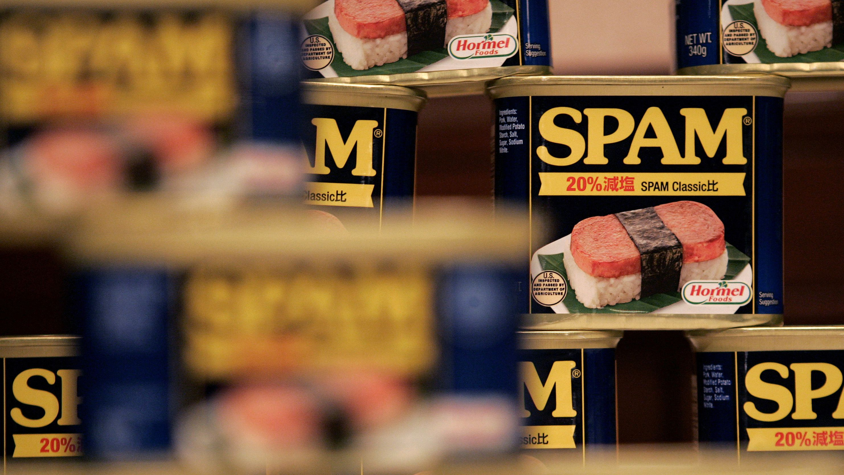 Cans of Hormel Foods Corp's Spam