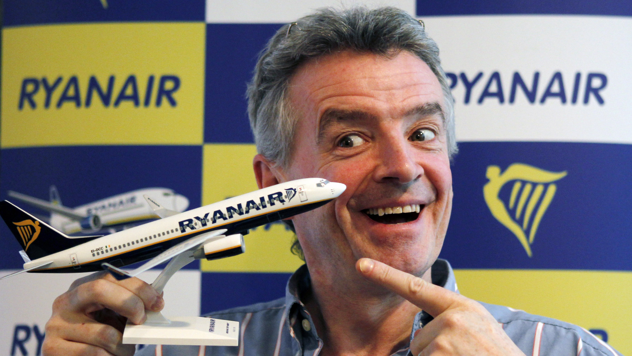Ryanair Chief Executive Michael O'Leary poses for a photo after a news conference.