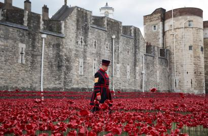 """Yeoman Serjeant Bob Loughlin walks amongst the art installation """"Blood Swept Lands and Seas of Red"""" marking the anniversary of the World War One at the Tower of London July 28, 2014. The evolving installation by artist Paul Cummins will be formed of 888,246 ceramic poppies, to honour military fatalities during WWI. REUTERS/Neil Hall (BRITAIN - Tags: SOCIETY ANNIVERSARY CONFLICT) - RTR40ERH"""