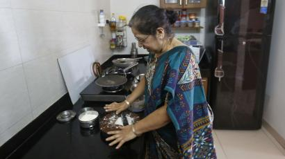 Indian lady cooking