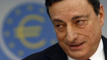 European Central Bank President Mario Draghi speaks during the monthly ECB news conference in Frankfurt.