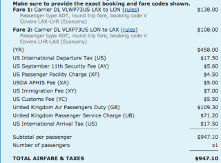 """Fuel surcharges are usually coded as """"YQ"""" or """"YR"""""""