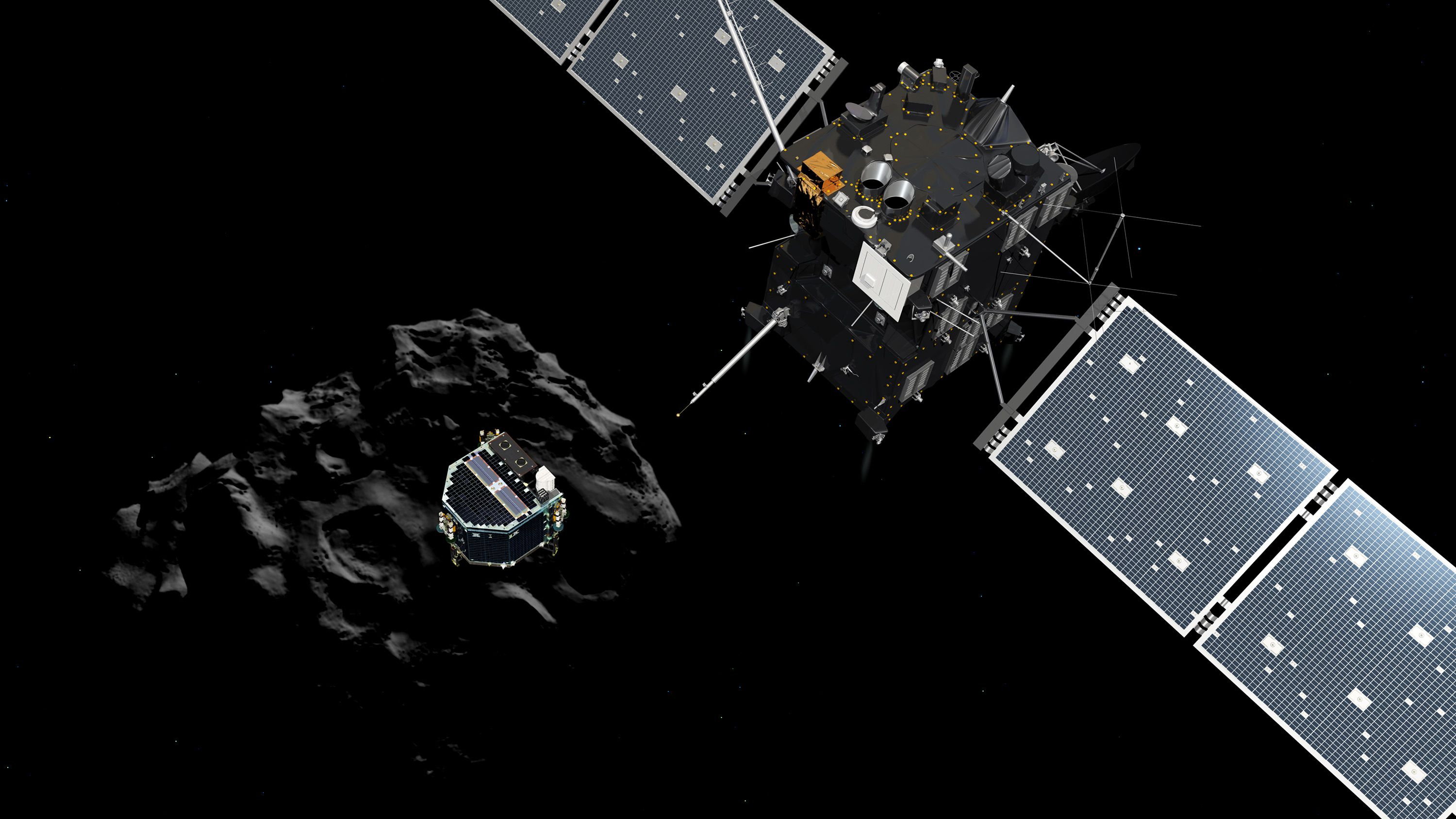 Rendering of the Philae lander detaching from the Rosetta orbiter.