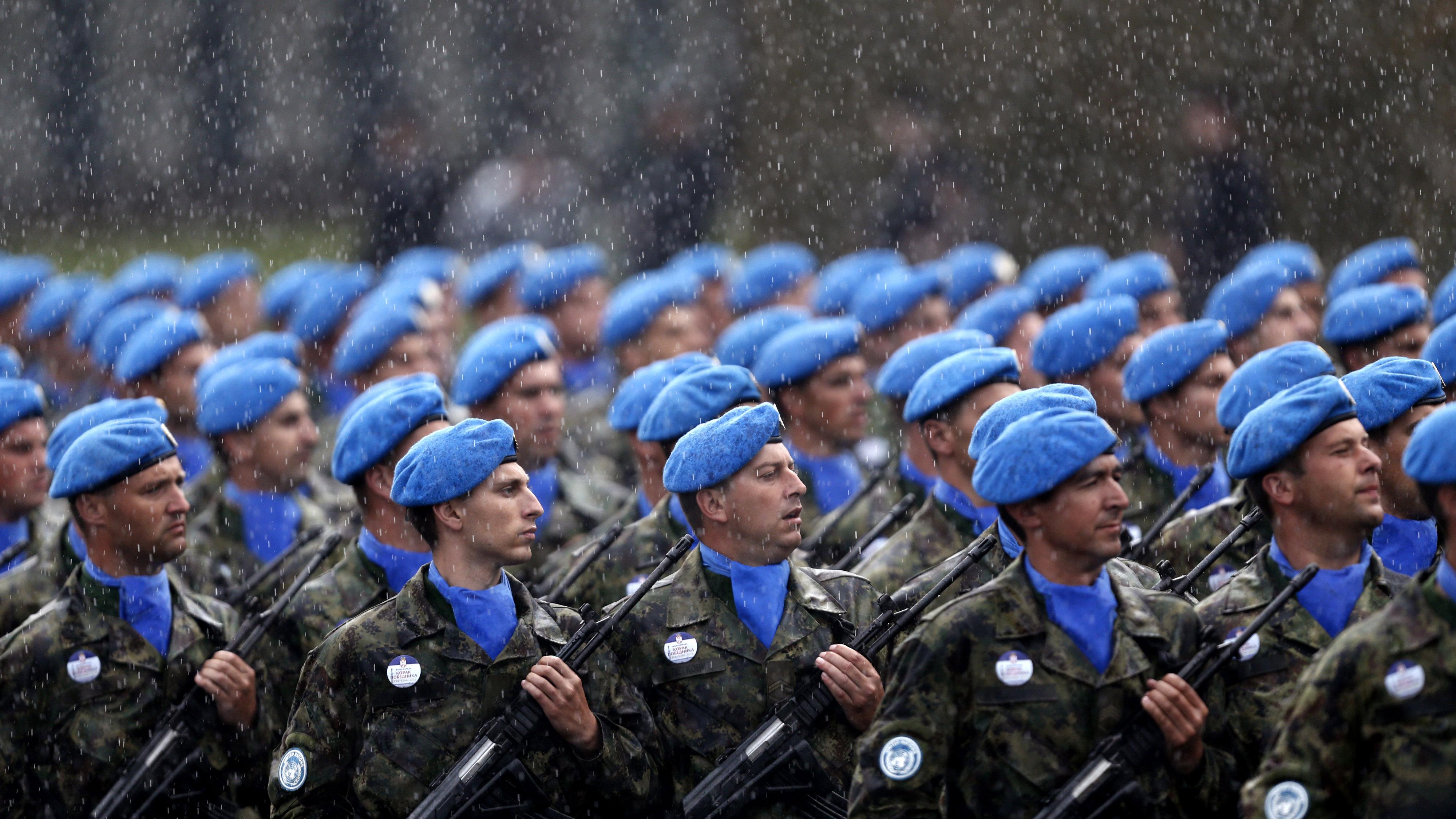 Serbian army marching