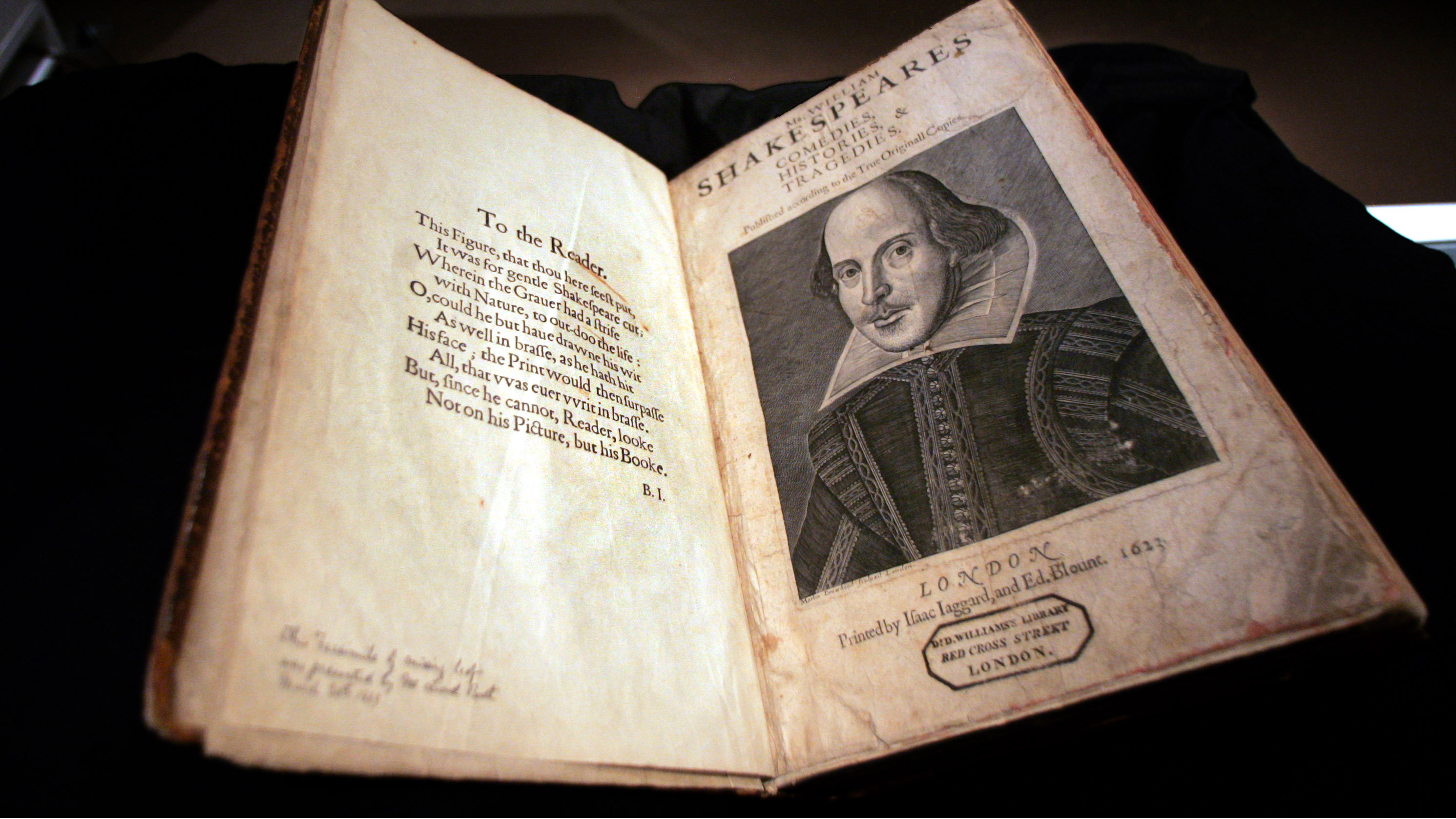 A 1623 First Folio of Shakespeare's plays is on display at Sotheby's in New York, Wednesday, April 19, 2006. Published seven years after Shakespeare's death this volume contains a total of 36 plays, 18 of which had never been previously printed. The book will be offered for sale in Sotheby's sale of English Literature and History in London on Thursday, July 13, 2006.