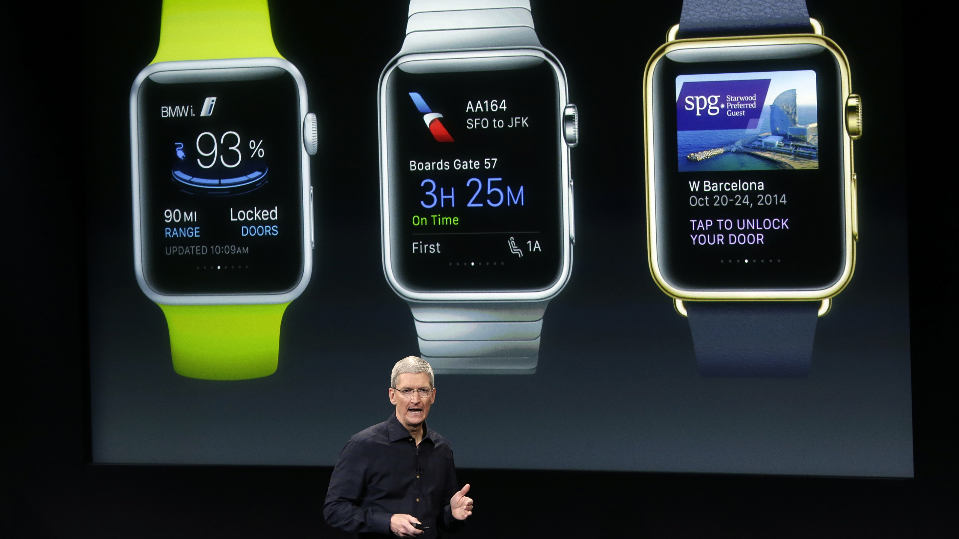 Apple CEO Tim Cook discusses the new Apple Watch during an event at Apple headquarters on Thursday, Oct. 16, 2014 in Cupertino, Calif. (AP Photo/Marcio Jose Sanchez)