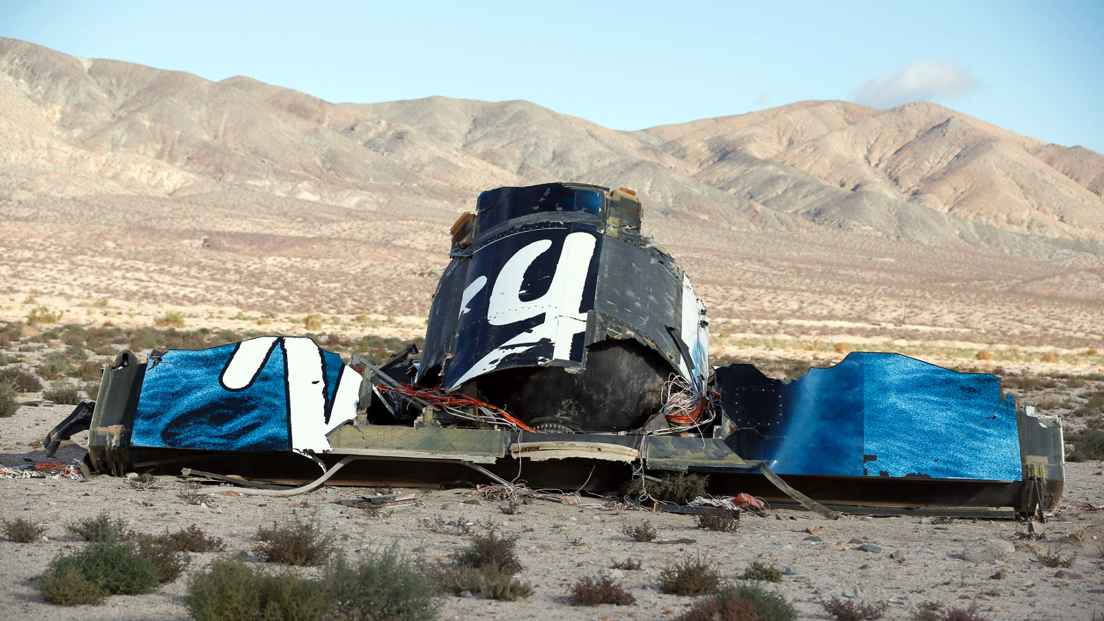 A piece of debris is seen near the crash site of Virgin Galactic's SpaceShipTwo near Cantil, California November 1, 2014. Virgin Galactic founder Richard Branson said on Saturday he was working with U.S. authorities to determine what caused a passenger spaceship being developed by his space tourism company to crash in California, killing one pilot and injuring the other.