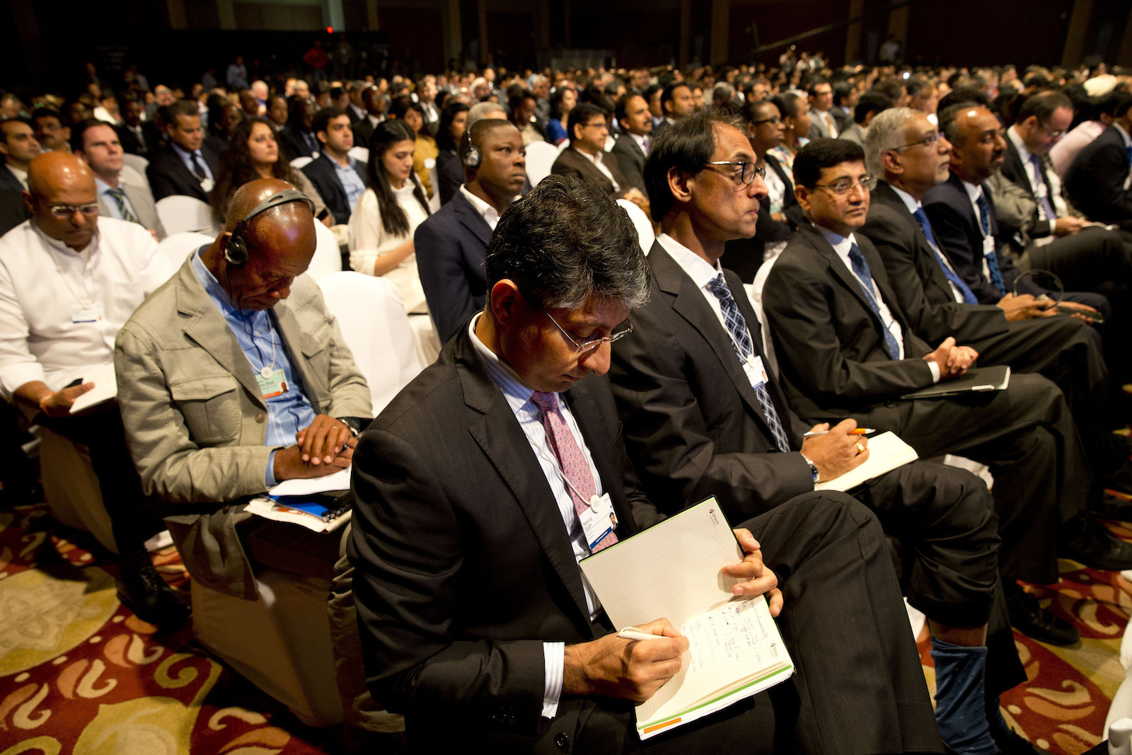 Delegates attend the opening plenary of the India Economic Summit in New Delhi, India, Wednesday, Nov. 5, 2014. Business leaders, government, civil society and academia representatives from more than 40 countries are participating in the three-day summit, organised by the World Economic Forum in partnership with Confederation of Indian Industry (CII), according to news reports.