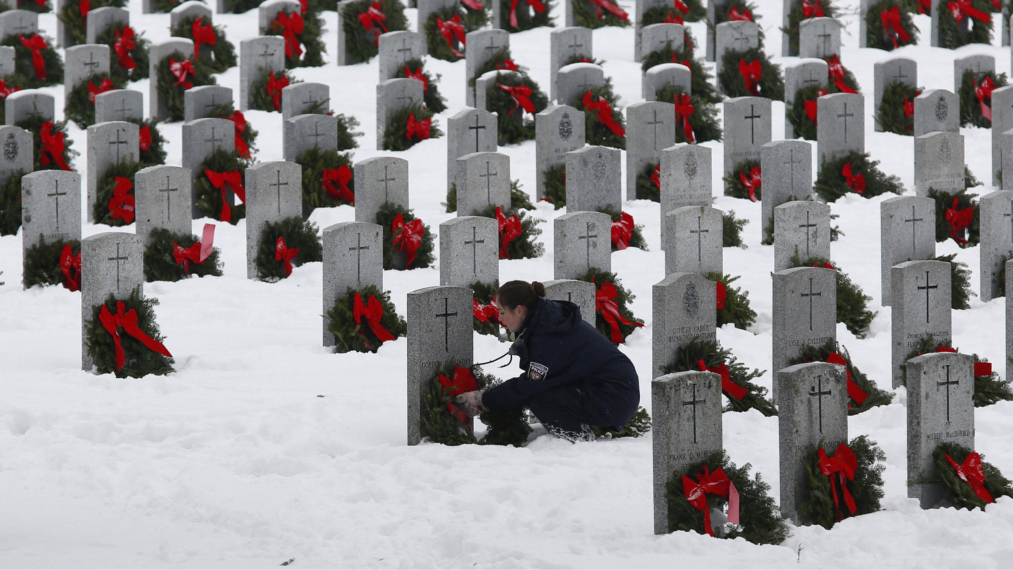 wreaths at cemetary