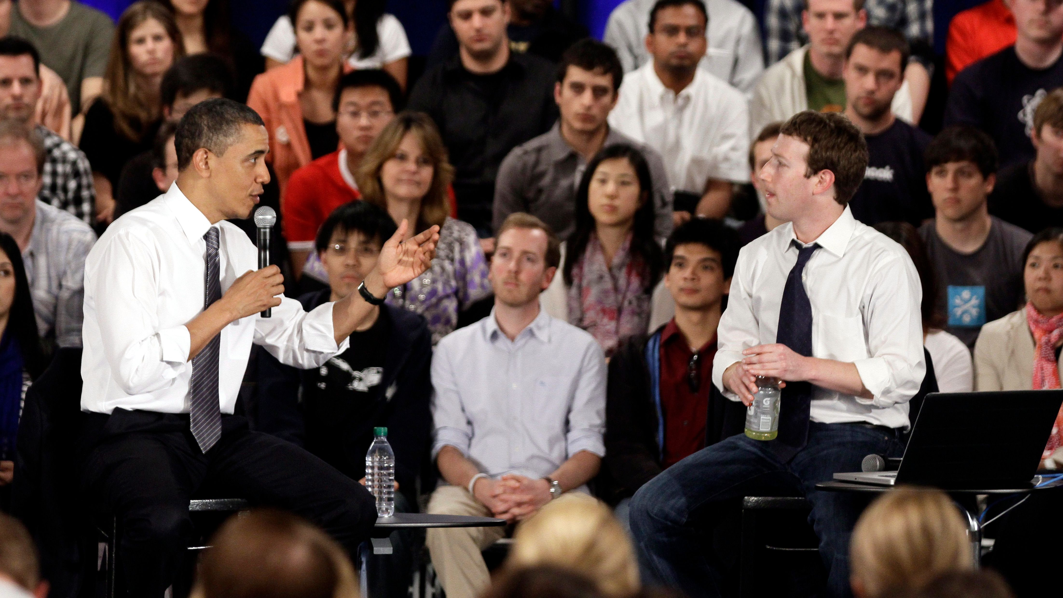 President Barack Obama, at left, and Facebook CEO Mark Zuckerberg during a town hall meeting at Facebook headquarters in Palo Alto, Calif., Wednesday, April 20, 2011.