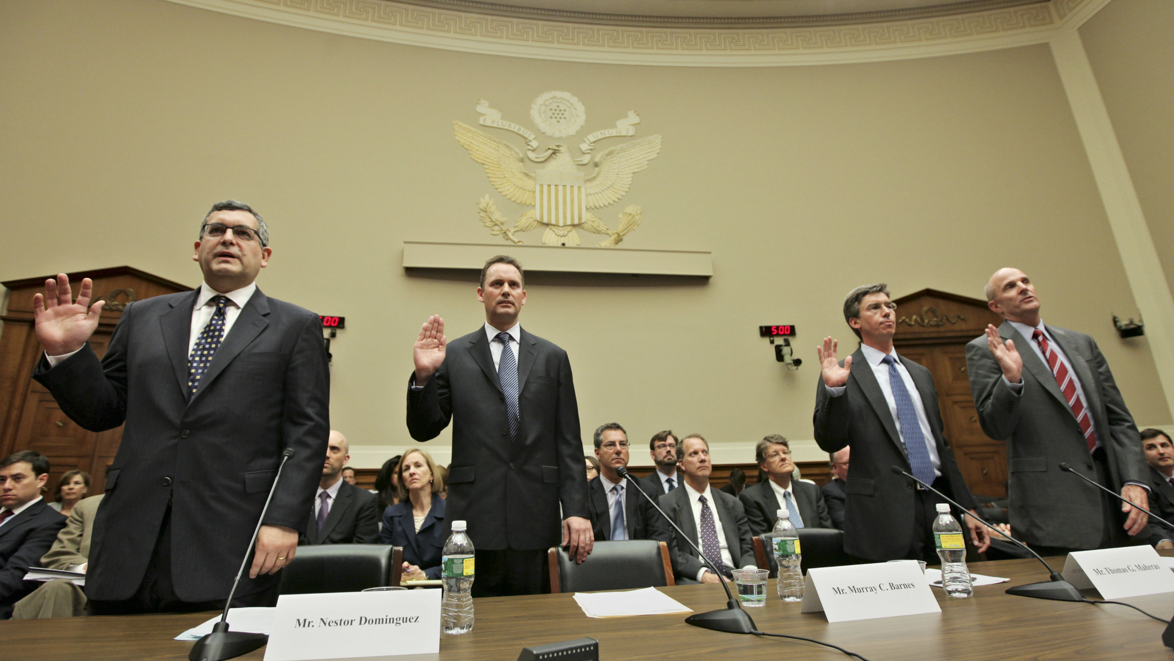 Witnesses representing the Citigroup Subprime-Related Structured Products and Risk Management operation are sworn in on Capitol Hill in Washington, Wednesday, April 7, 2010, prior to testifying before the Financial Crisis Inquiry Commission (FCIC) hearing to examine the causes of the collapse of major financial institutions caused by subprime lending.
