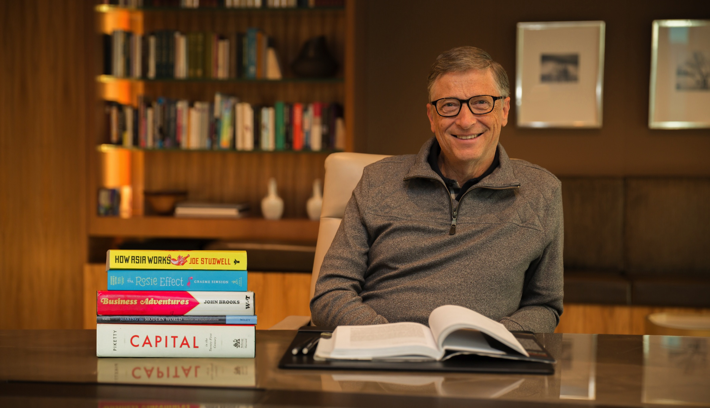 Bill Gates with his five favorite books of 2014.