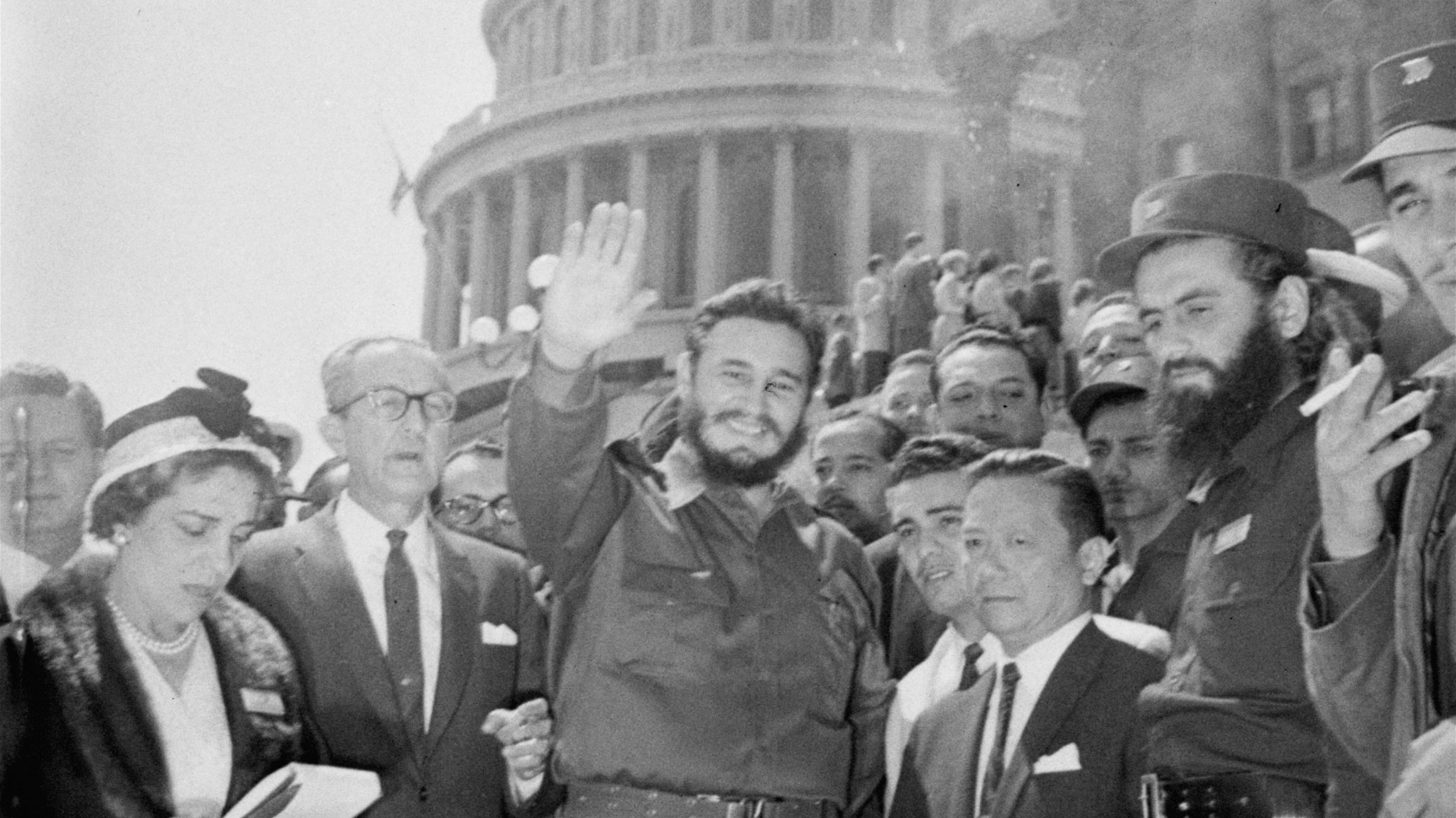 Fidel Castro, fresh from a visit to the Senate Foreign Relations Committee, poses in front of the Capitol today. The 32-year-old Cuban Prime Minister paid an unheralded visit to the Capitol April 17, 1959 and chatted with members of the committee.