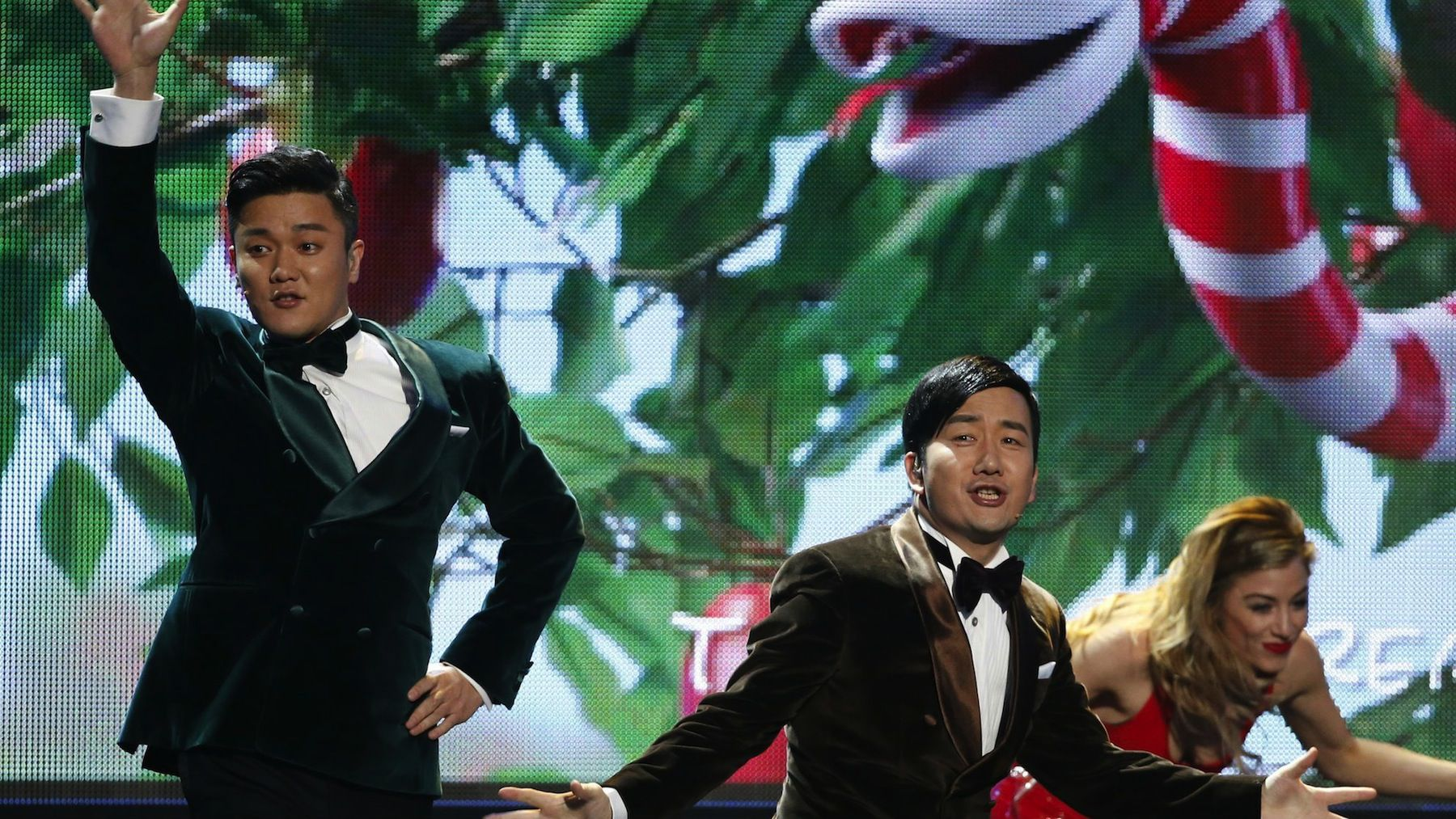 """The Chopstick brothers performing """"Little Apple"""" at the American Music Awards."""