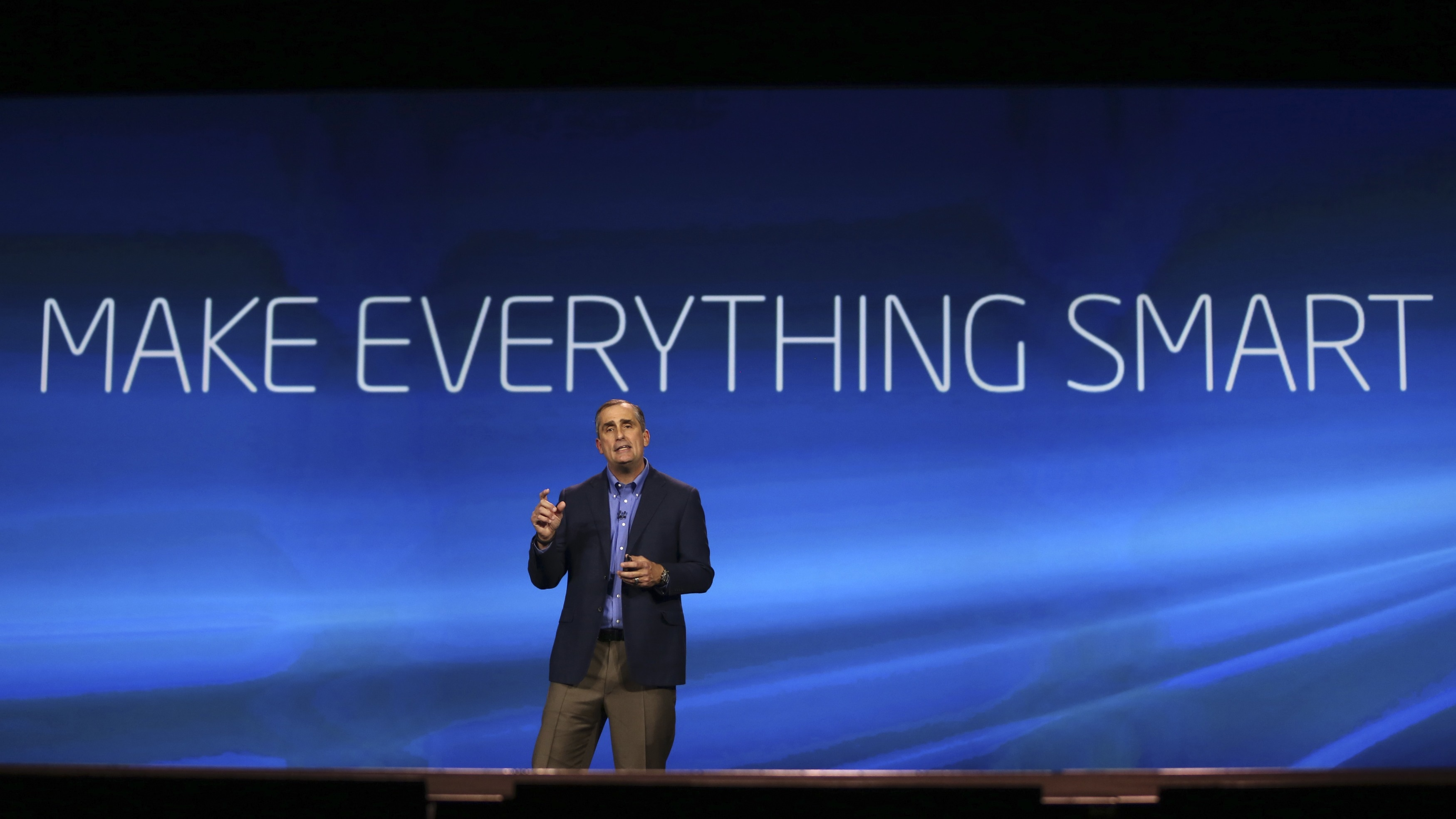 Intel CEO Brian Krzanich gestures during his keynote address at the Consumer Electronics Show (CES) in Las Vegas, Nevada January 6, 2014. REUTERS/Robert Galbraith