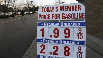 A price sign outside a Costco shows gas selling below $2.00 US for the first time in years, in Westminster Colorado December 16, 2014.