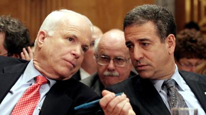 FILE - In this Jan. 25, 2006 file photo, Sen. John McCain, R-Ariz., left, chats with Sen. Russ Feingold, D-Wis. on Capitol Hill in Washington. The Supreme Court has raised a range of high-stakes possibilities that could substantially scale back the hard-won 2002 Bipartisan Campaign Reform Act, also named the McCain-Feingold law after its sponsors, and let corporations, unions and wealthy individuals pour money into elections in time for this year's congressional races, not to mention the 2012 presidential contest; a ruling is expected as early as Tuesday, Jan. 12, 2010. (