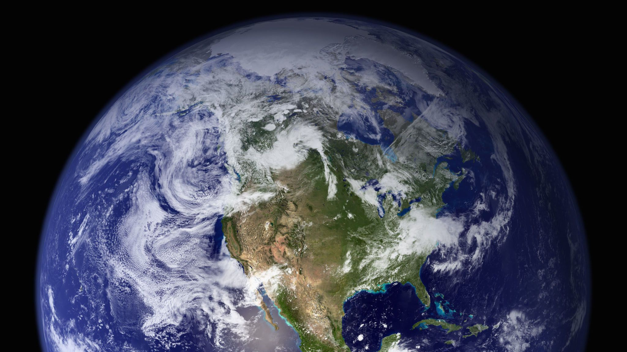 The western hemisphere of the Blue Marble, created in 2002.
