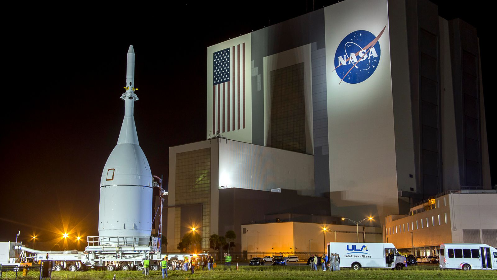 The Orion capsule is moved at Kennedy Space Center in Florida November 11, 2014. The NASA spacecraft designed to one day fly astronauts to Mars rolled out of its processing hangar at the U.S. space agency's Kennedy Space Center in Florida on Thursday to be prepared for a debut test flight in December.