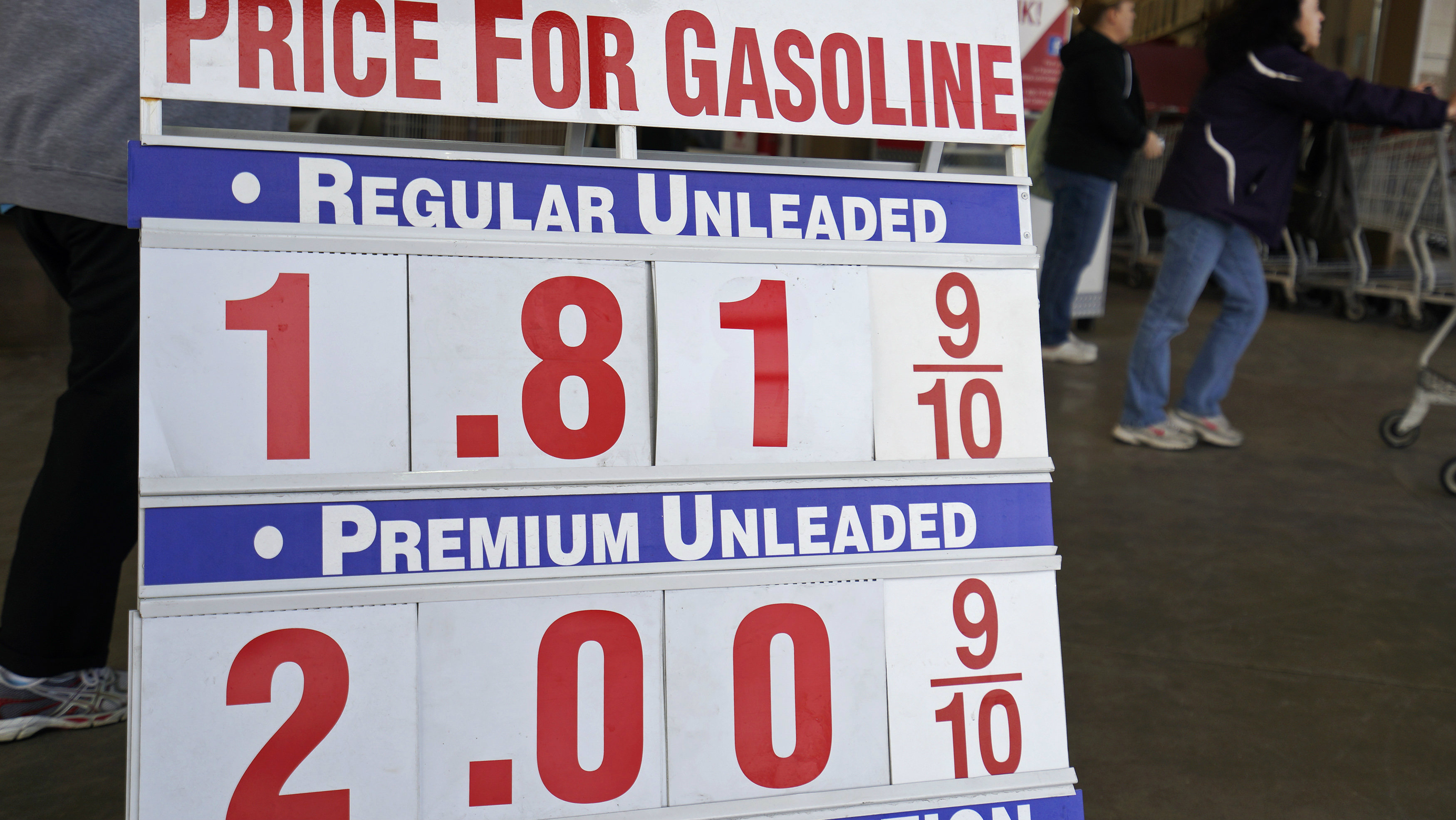 The price sign outside Costco in Westminster, Colorado, shows gas selling for $1.81.9 for the first time in years, December 23, 2014.