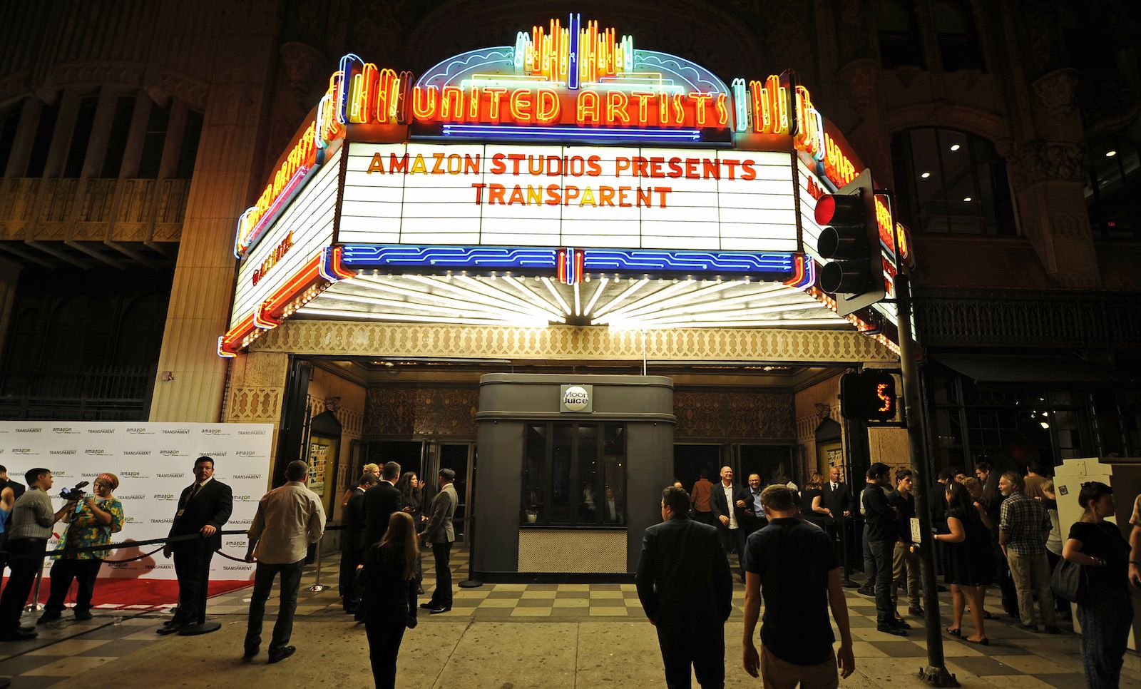 """The marquee of United Artists theater is seen during Amazon's premiere screening of the TV series """"Transparent"""" at the Ace Hotel in downtown Los Angeles, California, September 15, 2014. REUTERS/Kevork Djansezian  (UNITED STATES - Tags: ENTERTAINMENT) - RTR46DXL"""