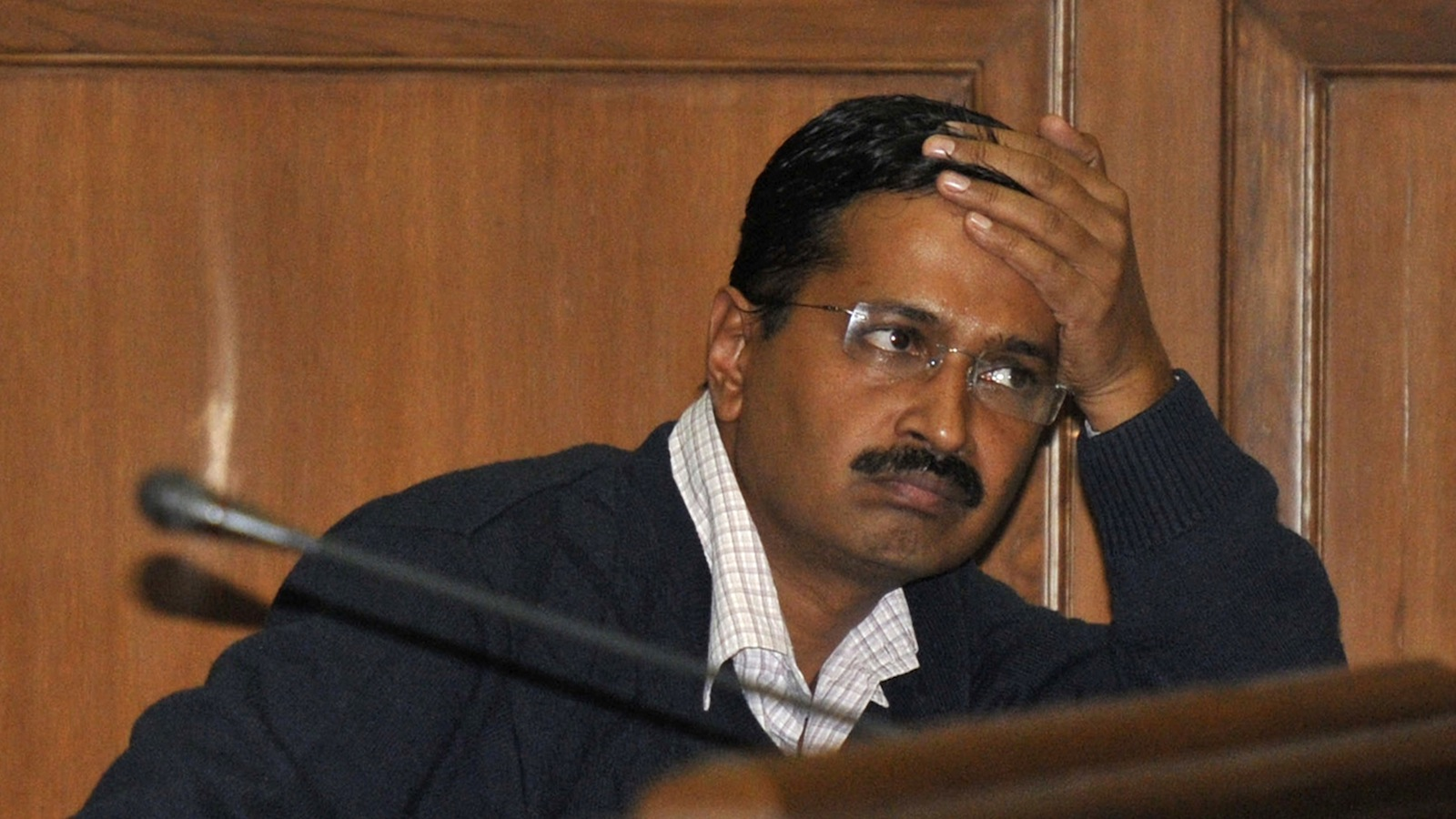 Delhi's Chief Minister Arvind Kejriwal, chief of the Aam Aadmi (Common Man) Party (AAP) attends a session at the Delhi assembly in New Delhi February 14, 2014. Kejriwal resigned on Friday over delays in the introduction of an anti-corruption bill he was pushing for. Kejriwal, a former tax collector who heads The AAP, seized a stunning victory in India's capital in state elections in December on an anti-corruption platform. REUTERS/Stringer