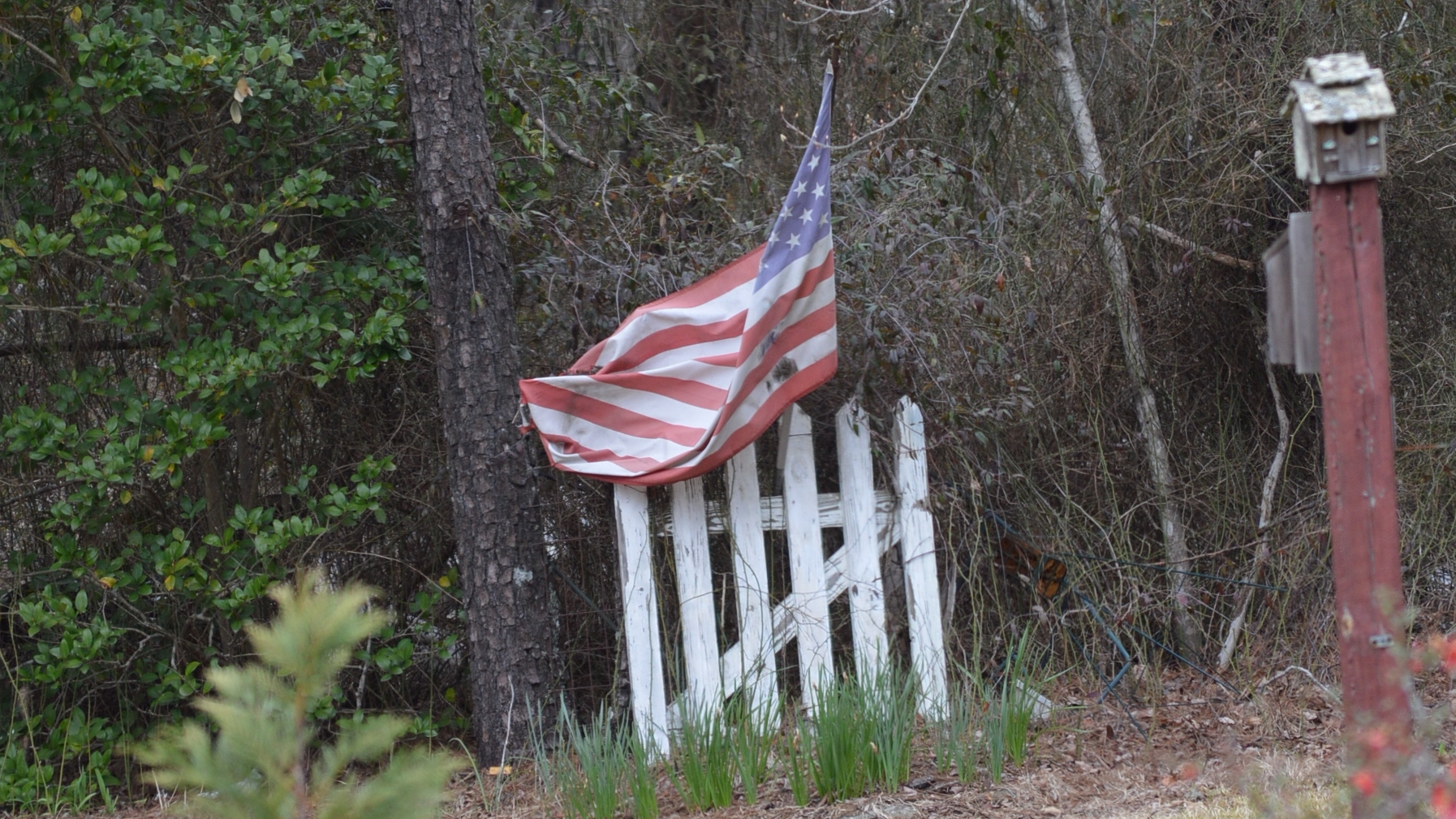 American flag on a fence.