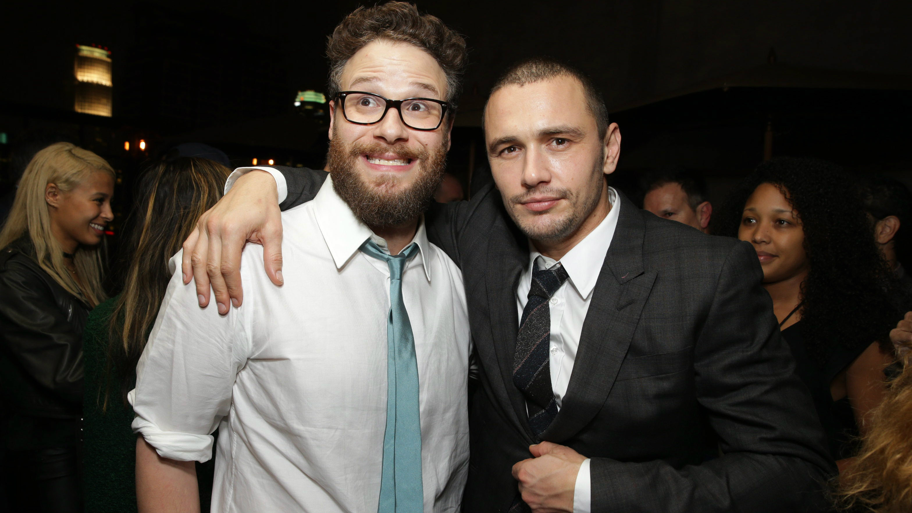 """Director/Producer/Screenwriter Seth Rogen and James Franco seen at Columbia Pictures World Premiere of """"The Interview"""" on Thursday, Dec 11, 2014, in Los Angeles. (Photo by Eric Charbonneau/Invision for Sony Pictures/AP Images)"""