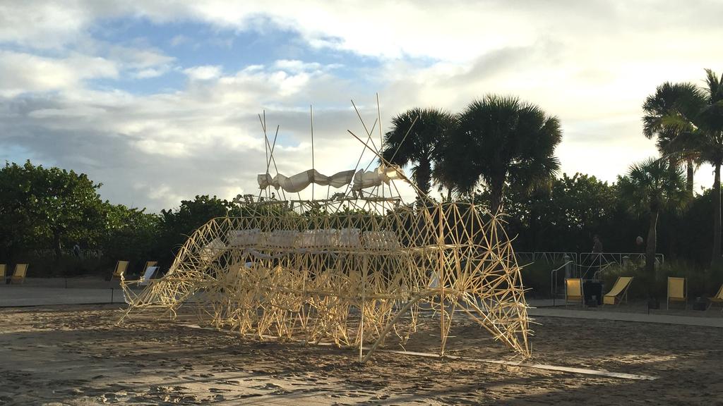One of Theo Jansen's wind-powered Strandbeests at Art Basel Miami Beach