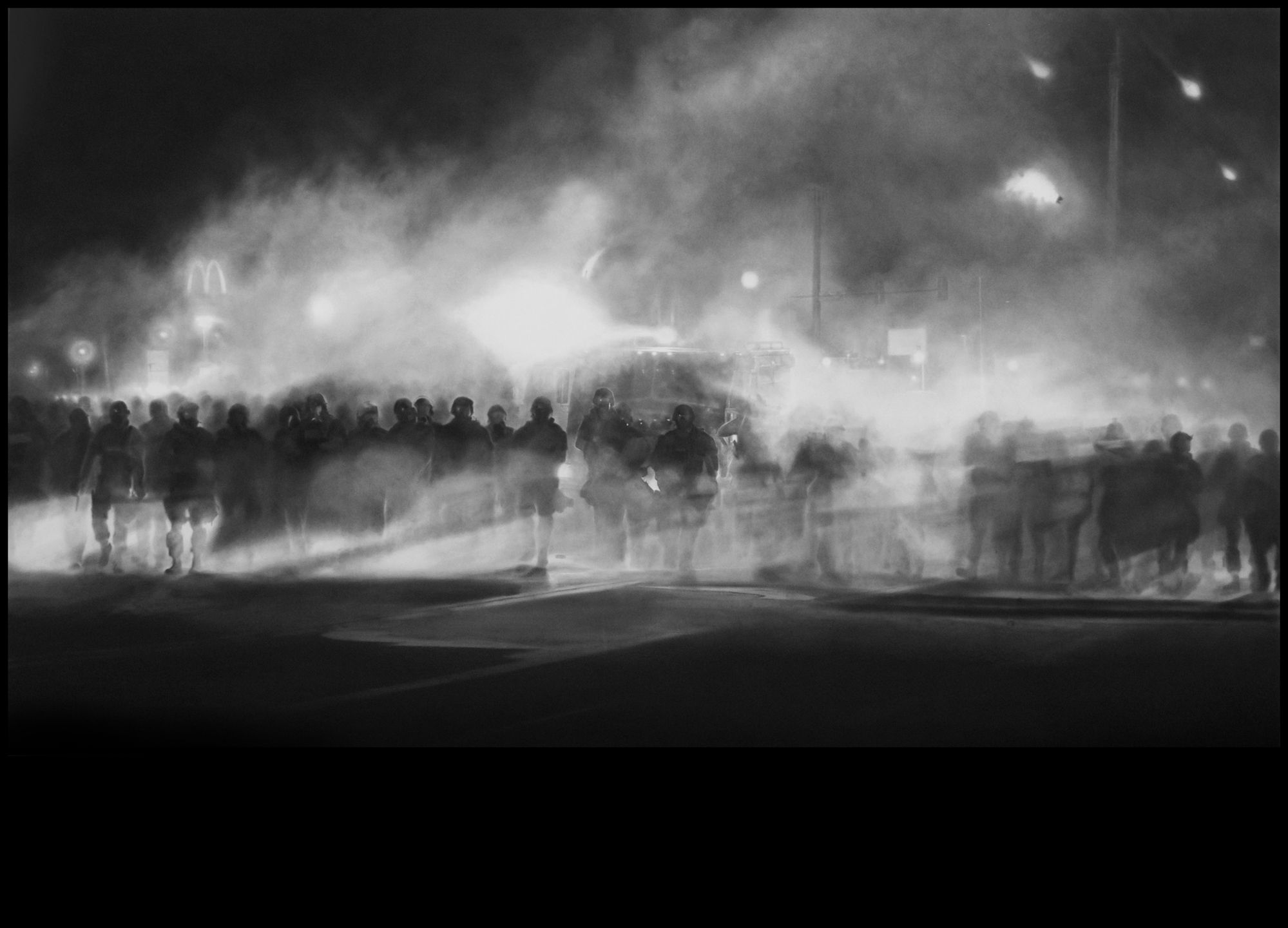 The Ferguson police, in a charcoal drawing by Robert Longo on display at Art Basel Miami Beach