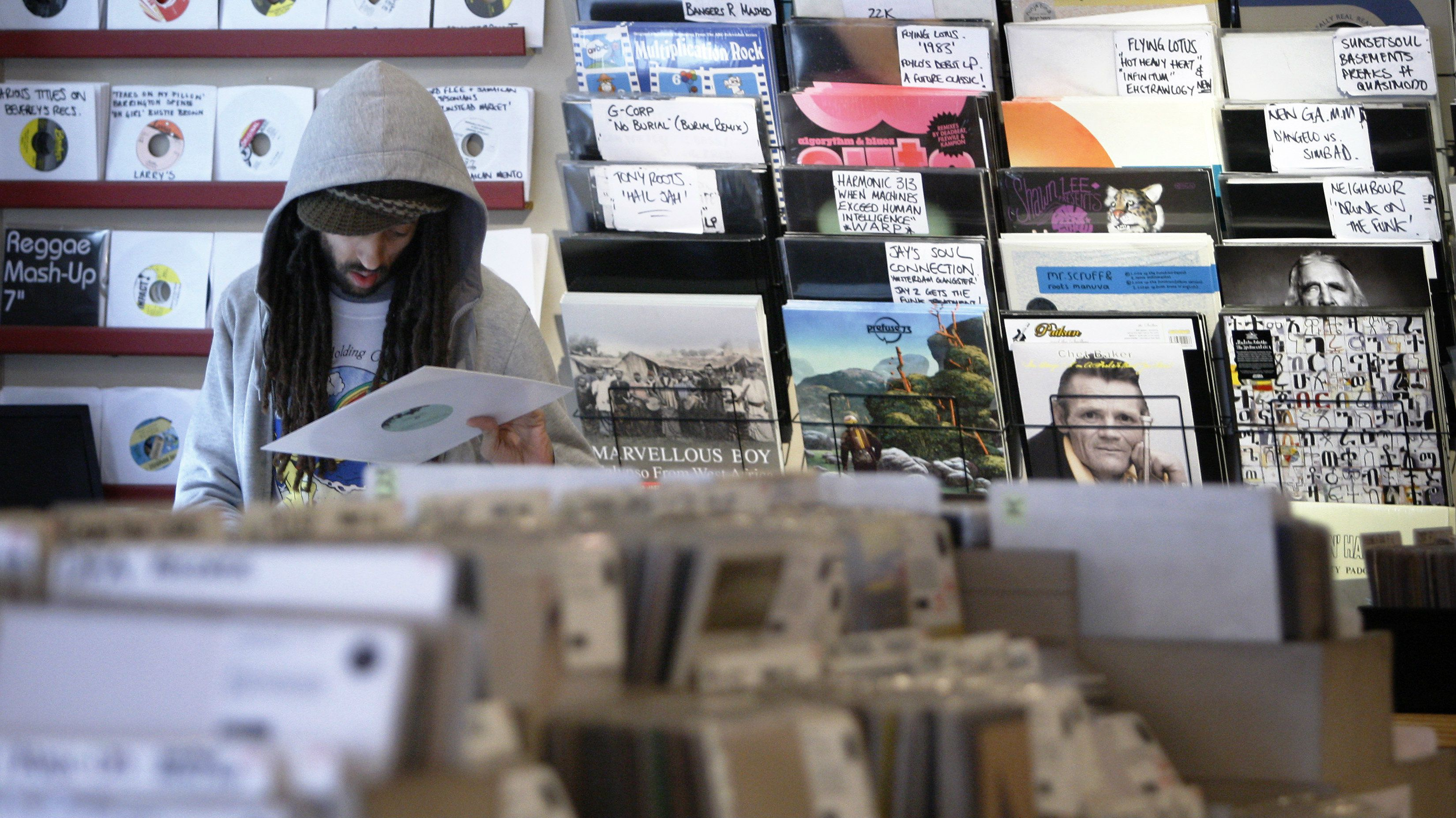 Vinyl record store music streaming