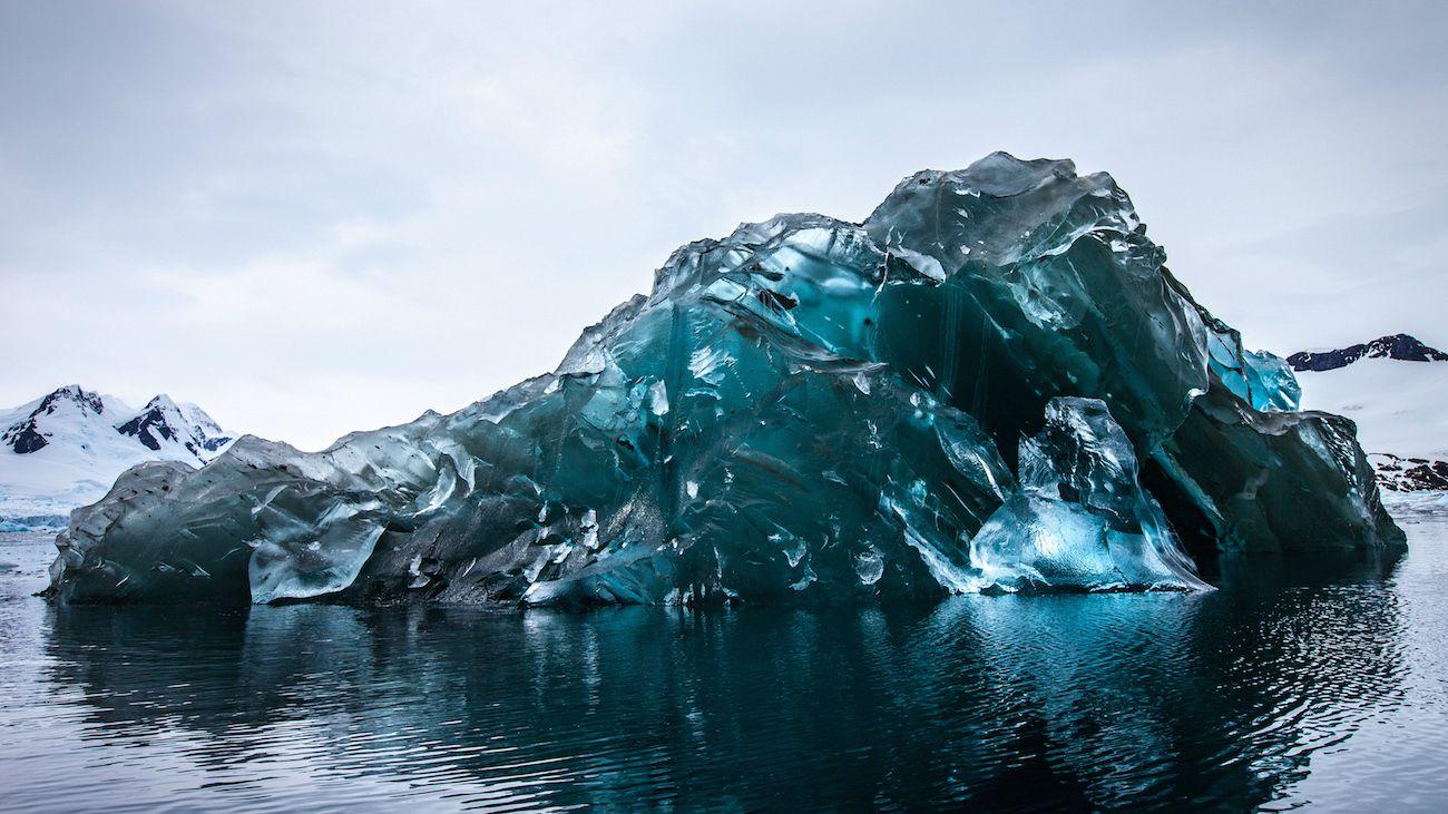 An upside-down iceberg in Cierva Cove, Antarctica.